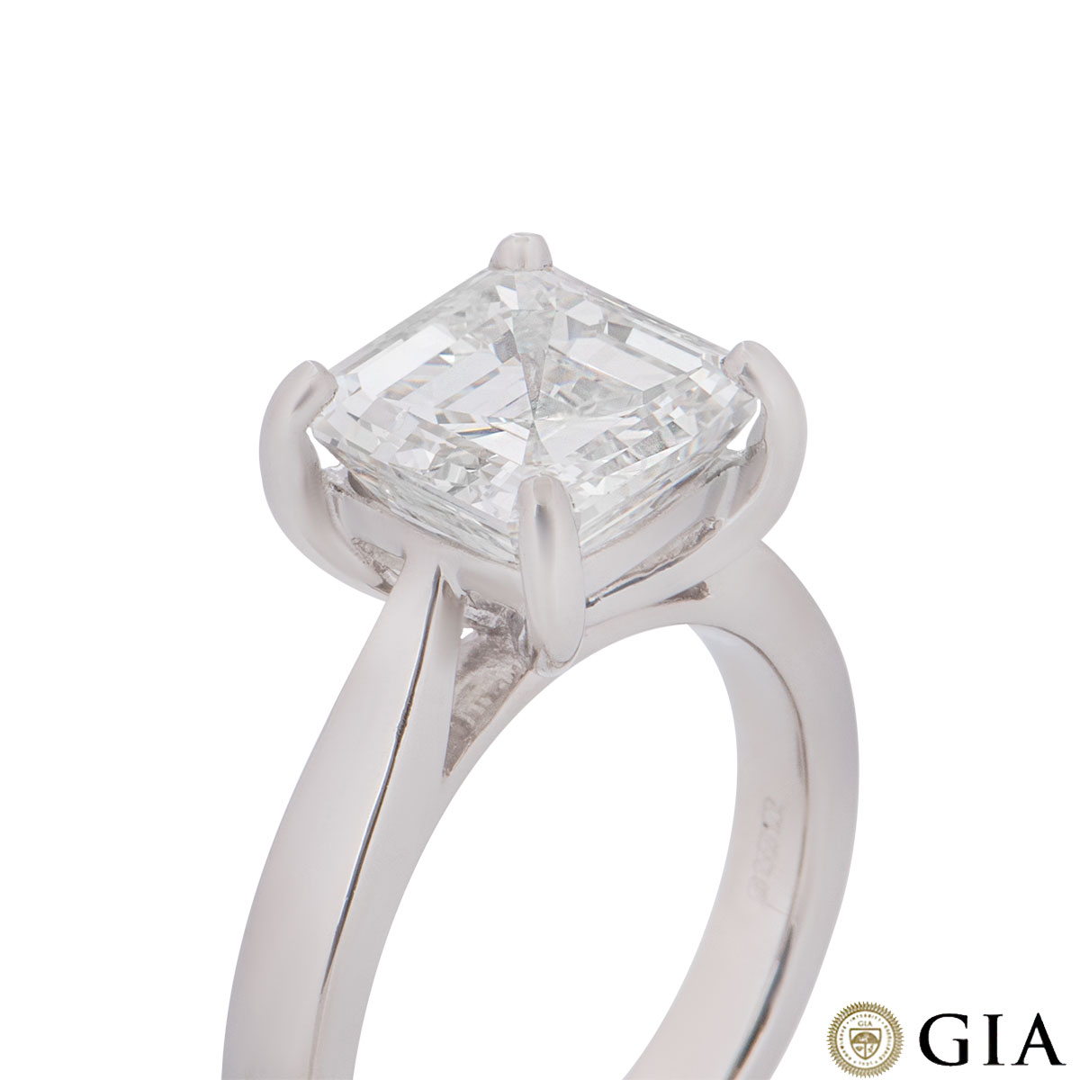 Platinum Asscher Cut Diamond Ring 3.52ct H/VVS2